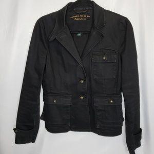 Lauren Ralph Lauren Black Denim Jacket Size Medium